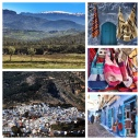 """29-Mar-2015: Chefchaouen, Morocco. Chefchaouen (""""Shef-SHAH-wen"""") is nestled in the foothills of the Rif Mountains, and is known as the """"Blue City."""" Like many other Rif Mountain villages, Chefchaouen is relatively rural. It was initially inhabited by Rifi Berbers, who were joined by Andalusian Jews and Muslims after fleeing Spain beginning in the 15th century. It is such a uniquely cute little town. And, YES, almost everything is a shade of blue - - with the exception of the BRIGHTLY colored woven fabrics and handicrafts."""