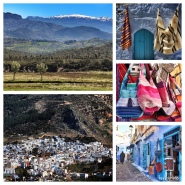 "29-Mar-2015: Chefchaouen, Morocco. Chefchaouen (""Shef-SHAH-wen"") is nestled in the foothills of the Rif Mountains, and is known as the ""Blue City."" Like many other Rif Mountain villages, Chefchaouen is relatively rural. It was initially inhabited by Rifi Berbers, who were joined by Andalusian Jews and Muslims after fleeing Spain beginning in the 15th century. It is such a uniquely cute little town. And, YES, almost everything is a shade of blue - - with the exception of the BRIGHTLY colored woven fabrics and handicrafts."