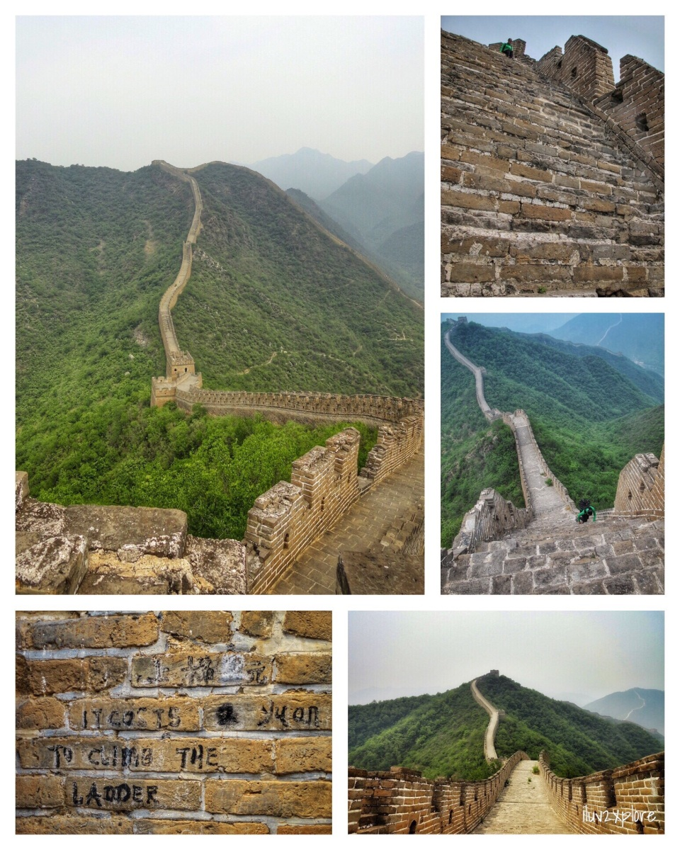 """2012-May-19 Huairou, Beijing, China: Hiking """"Yellow Flower Fortress,"""" a somewhat remote section of the Great Wall at Huanghuacheng, which is located in the Huairou District, about 60 kilometers from Beijing, China and was constructed in the Ming Dynasty (1368-1644). It is ~6.8 miles (11km) long and joins with Juyongguan Pass and Badaling in the southwest and Jiankou and Mutianyu in the northeast. Some portions were almost vertical and resembled climbing a very, VERY tall wall at a rock gym; other portions were just REALLY STEEP and SLICK (and going downhill was no better than going uphill). Locals """"guard"""" the wall and charge access fees (price posted on the wall) for whatever sections they prefer."""
