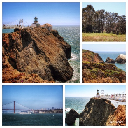 2015-Jun-21 Views of the San Francisco coastline, Point Bonita Lighthouse, and Golden Gate Bridge from Marin Headlands trails.